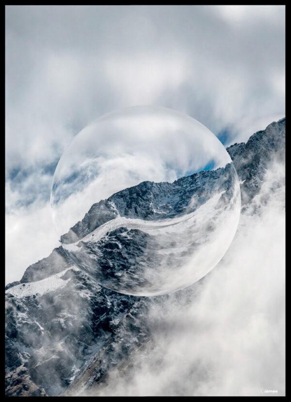 Snow mountain crystal ball plakat
