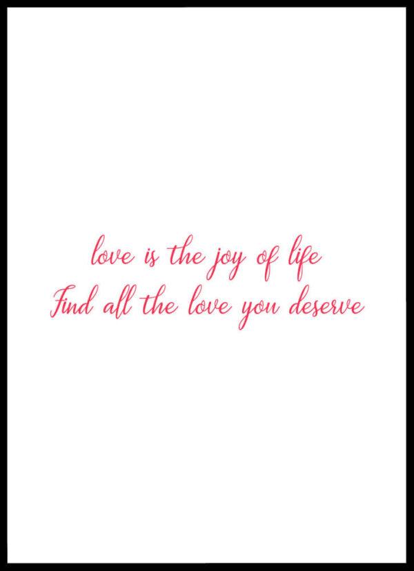 Love and joy citatplakat